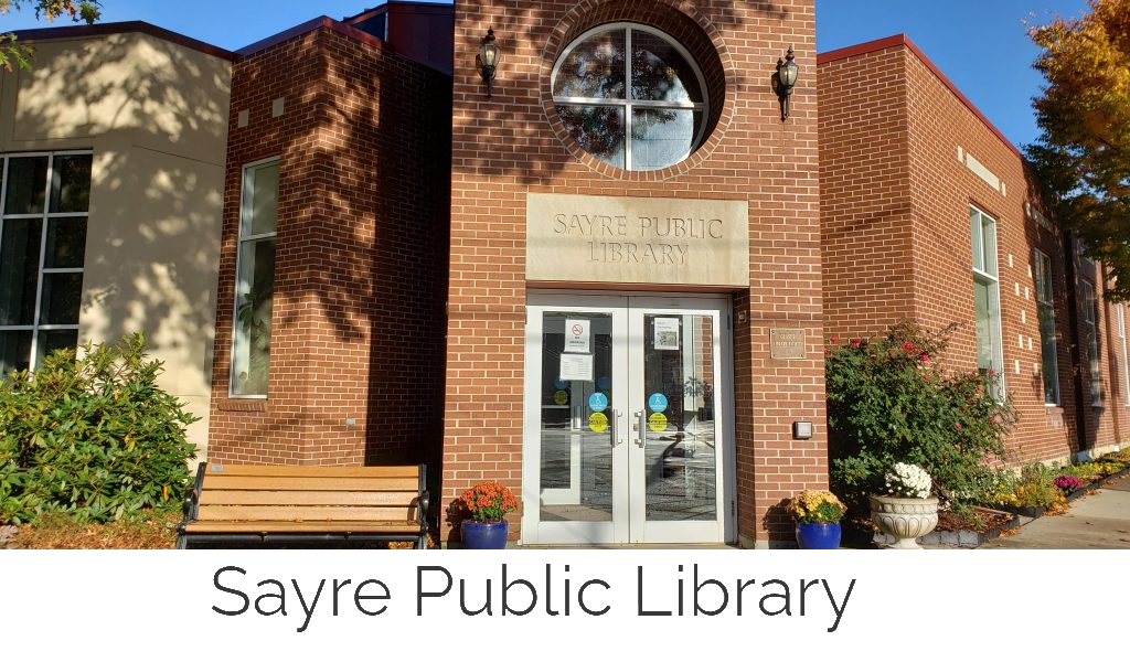 sayre public library logo with name
