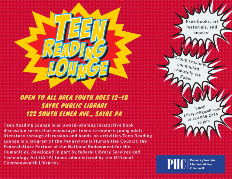 sayre library teen reading lounge flyer